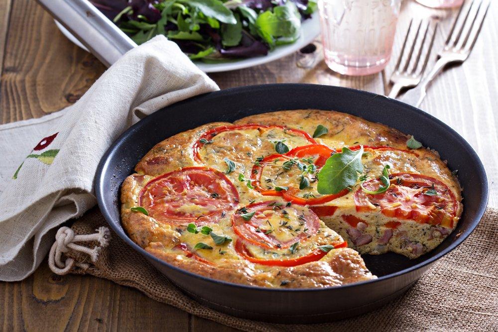 Vegetable Frittata with ham and pecorino