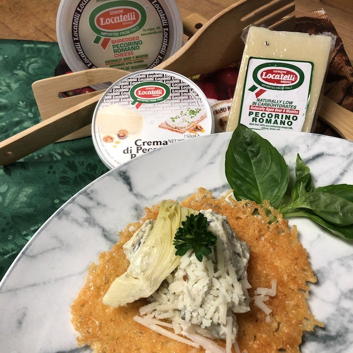 Locatelli Cheese Tuille - Crisp with Artichoke Dip